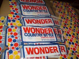 6 pcs BIG VINTAGE WONDER BREAD WONDERBREAD COUNTRY STYLE  BAG WRAPPER MOVIE PROP