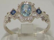 SOLID HALLMARKED STERLING 925 SILVER NATURAL AQUAMARINE & SAPPHIRE 3 STONE RING