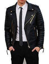 Men's Stylish Motorcycle Lambskin Genuine Leather Biker Jacket Black Gold Zipper