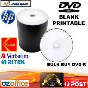 BULK BUY Blank DVD Discs Inkjet Printable HP Ritek Databank Kodak DVD-R 16X