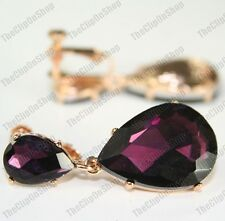 CLIP ON 4cm BIG CRYSTAL DROPS EARRINGS dark purple SPARKLY gold plated GLASS
