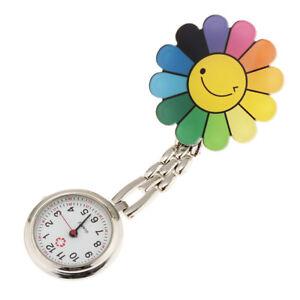 Flower   Face Nurse Doctor Pocket Clip On Watch Brooch Fob Quartz Watch
