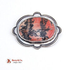 Hand Made Navajo Indian Brooch Picture Agate Stone Sterling Silver 1960