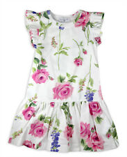 Monnalisa Bedrucktes Jersey Sommer Kleid 113921 Baumwolle weiß Rosen Blumen
