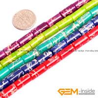"Colorful Sea Sediment Jasper Gemstone Tube Beads For Jewelry Making 15""Wholesale"