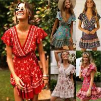 Women Short Sleeve AU Floral BOHO Beach V-Neck Wrap Party Ladies Maxi Dress