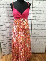 Lovely Cotton Monsoon Orange Pink Floral Maxi Dress 12