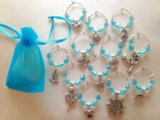 6 White /& Silver Nautical Wine Glass Charms Birthday Hen **Gift Box Available*