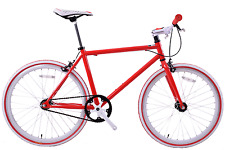 "JUNIOR SIZE FIXIE BIKE 24"" WHEEL 45CM FRAME, SINGLE SPEED, FLIP FLOP HUB RED"