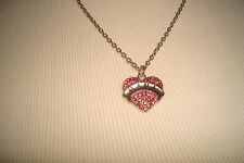 Heart Necklace with Pink Rhinestones NANA