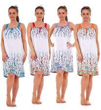 Ladies Sleeveless Nightwear Floral 100% Cotton Summer Short Nightdress M to XXXL