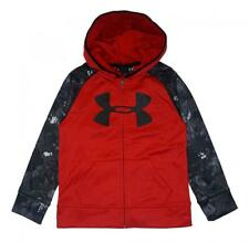 Under Armour Boys Red Printed Sleeve Zip-Up Logo Hoodie Size 5