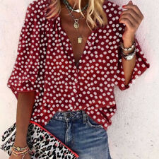 Women Summer Long Sleeve V Neck T Shirt Floral Print Blouse Casual Loose Top Tee