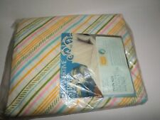Sears Twin Fitted Sheet Vintage NEW In Package Summer Stripe Pink Blue Yellow
