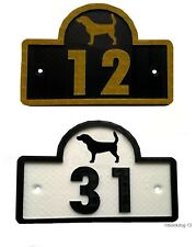 Beagle House Door Number Plaque -Garden Gate Dog Sign (0 to 9999)