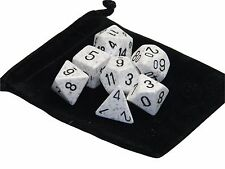 New Chessex Polyhedral Dice with Bag Arctic Camo Speckled 7 Piece Set DnD RPG