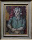 PAULINE GLASS 1908-1992 MODERN BRITISH LADY PORTRAIT OIL PAINTING ART BLUE 195