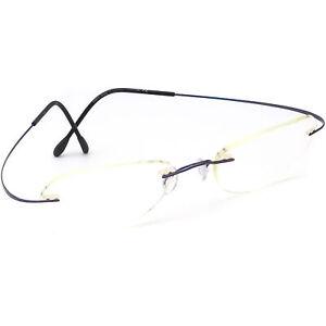Silhouette Eyeglasses 40 6050 Blue Rimless Metal Frame Austria 52[]19 130