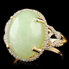 WJA CERTIFIED Pale Green Jade Cabachon 16.03CTW & W Topaz 1.10CTW Verrmeil Ring