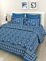 Indian Floral 100% Cotton Double Bed Sheet With 2 Pillow Covers, Blue