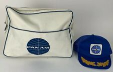 Pan Am Airlines Vintage White Tote Bag And Original Pan Am Snap Back Hat