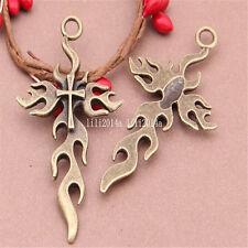 3pc Antique Bronze Charms cross Pendant Bead Accessories wholesale  PL475