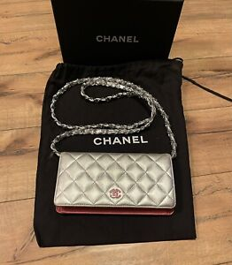 CHANEL Silver & Pink Lambskin Crossbody Mini Wallet on Chain With Box & Dust Bag