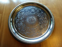 "SILVER PLATE PLATTER (SERVING TRAY) 13"" DIAMETER ETCHED WITH ZODIAC DESIGN"