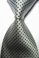 Hot! Classic Checks Silver Black JACQUARD WOVEN 100% Silk Men's Tie Necktie