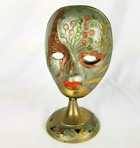 Vintage Brass Mask Painted Metal Theatre Carnival Colorful Decor Pedestal 7.5 in