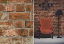 Natural ladrillo rústico wallpaper efecto de pared Marrón Rojo función Fine Decor