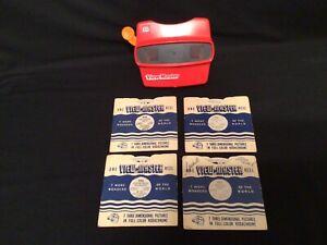 Vintage 3D Red View Master Slide Viewer & 4 View Master Reels (See Description)