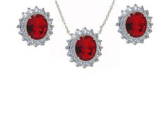 2 Pcs Jewelry Set Princess Kate Diana Earring Necklace Set Ruby CZ Gold plate