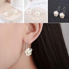 Ear Hook Jewelry Mother Gift Hs 925 Silver Pearl Flower Earrings Elegant Women's
