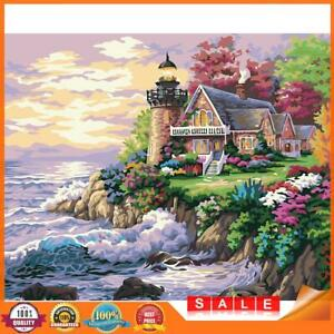Painting By Numbers Kit DIY Sea House Hand Painted Canvas Oil Art Picture A#S