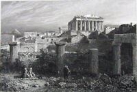 Greece, ATHENS ACROPOLIS PARTHENON TEMPLE RUINS ~ Old 1829 Art Print Engraving