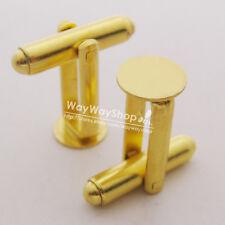 10 PCS Gold blank Metal Cufflinks Findings 8mm Pad new