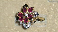 SOLID     14K  Gold    RUBY    Diamond    Cluster  Ring