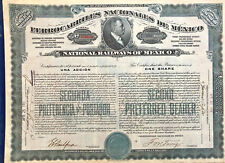 National Railways of Mexico > Ferrocarriles Nacionales de 1910 stock certificate