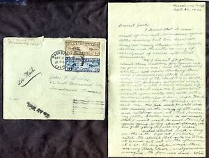 p149 - PASADENA Cal 1926 Airmail Cover with Letter. 25c Rate