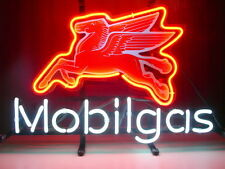 "New Mobil Gas Gasoline Beer Bar Neon Light Sign 17""x14"""