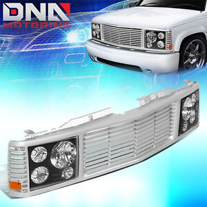 FOR 1988-1999 CHEVY GMC C/K PICKUP TAHOE YUKON FRONT BUMPER GRILLE+ HEADLIGHTS