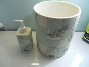 2 PC SET CROSCILL RAINIER EVEREST Bath Accessories Wastebasket, Soap Dispenser