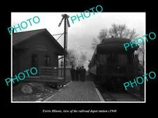 OLD POSTCARD SIZE PHOTO OF FERRIS ILLINOIS THE RAILROAD DEPOT STATION c1940