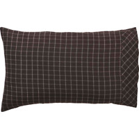 WYATT Standard Pillow Case Set Rustic Log Cabin Lodge Brown/White Plaid VHC