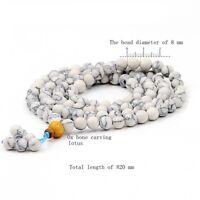 8mm Tibet Buddhist 108 Howlite Turquoise Prayer Beads Mala Necklace