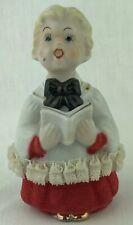 Vintage Christmas Choir Boy Caroler Porcelain Figurine Lace