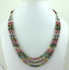 925 SOLID STERLING SILVER NATURAL TOURMALINE GEMSTONE NECKLACE 42 GRAMS