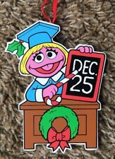Prairie Dawn Vintage Christmas Ornament Sesame Street Wood Graduate/Teacher