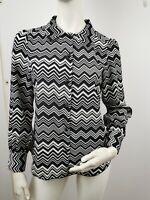 Authentic Missoni Monochrome Black White Zig Zag Women's Shirt Sz S EU 36 UK 8